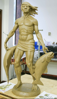 Making bronze art casting - original sculpture